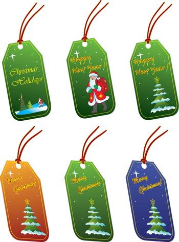 Christmas tags vector isolated on white
