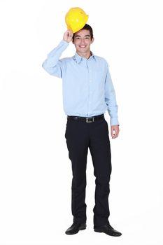 full-length portrait of junior foreman all smiles