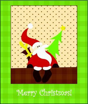 Christmas card with Santa Claus. Vector. Editable.