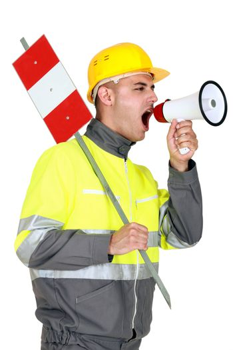 Laborer screaming in a bullhorn