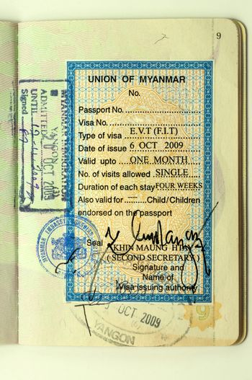 Myanmar or Burma visa