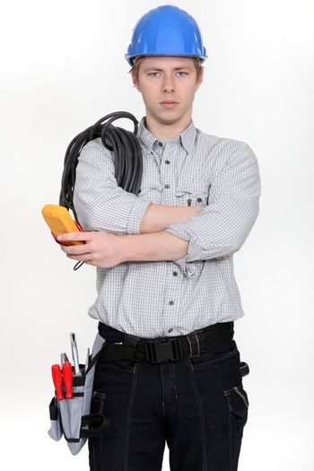 Electrician ready to start work