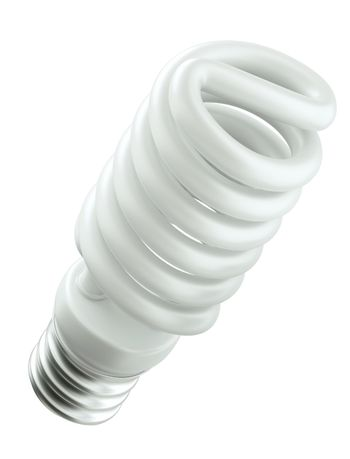Energy efficient spiral light bulb isolated