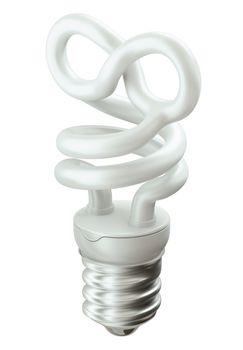 Eternity symbol light bulb isolated on white