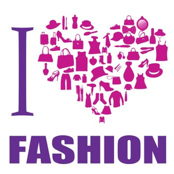 I love fashion background. The heart is made from different  fashion items, vector illustration