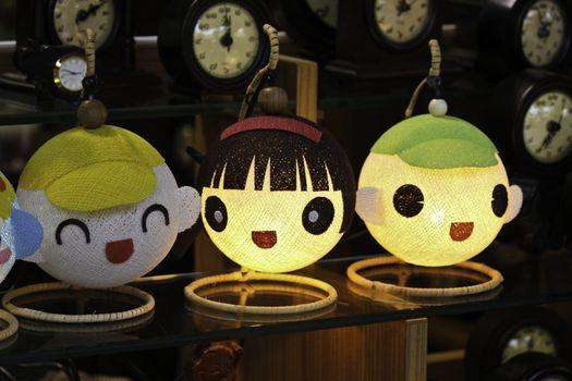 Cartoon cute lamp in night life