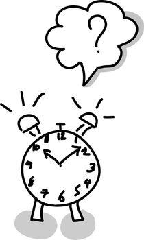 Alarm clock hand writing on white background