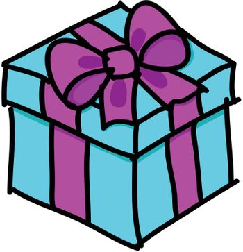 Blue gift box with pink ribbon and a bow