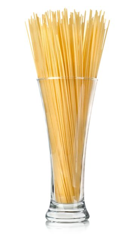 Spaghetti in a glass