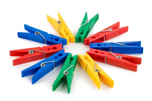 Colored clothespins isolated