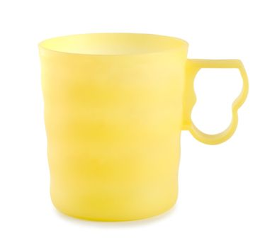 Yellow plastic mug