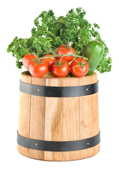 Barrel with vegetables