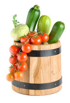 Wooden barrel with vegetables