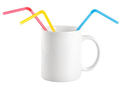 White cup with a drinking straw
