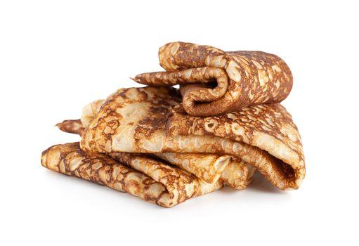 Folded pancakes isolated