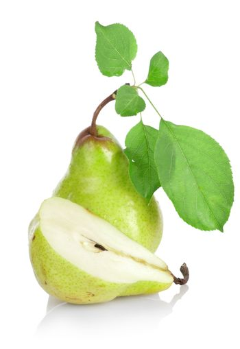Green pears with green leafs