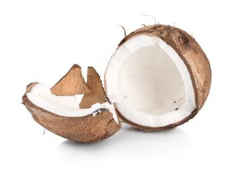 Two parts of a coconut