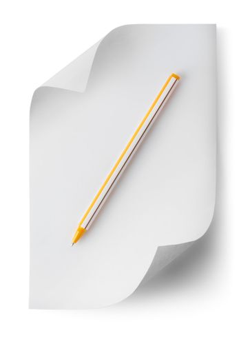 Pen with a sheet of paper
