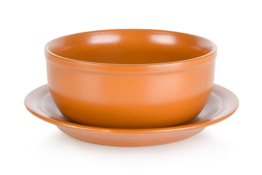 Brown bowl isolated