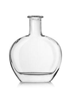 Empty bottle of cognac isolated