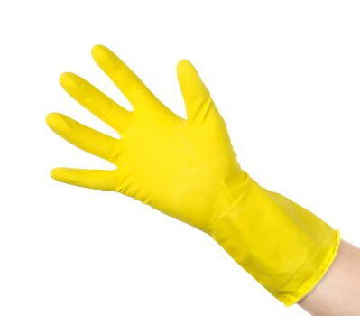 Yellow cleaning glove isolated