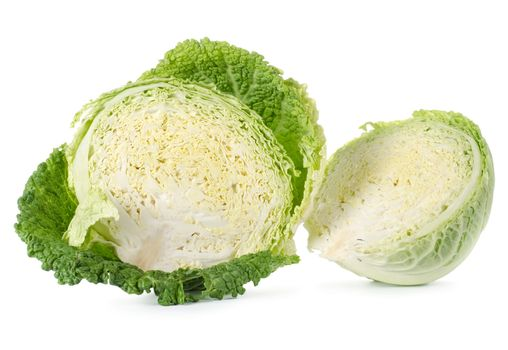Savoy cabbage is in a cut