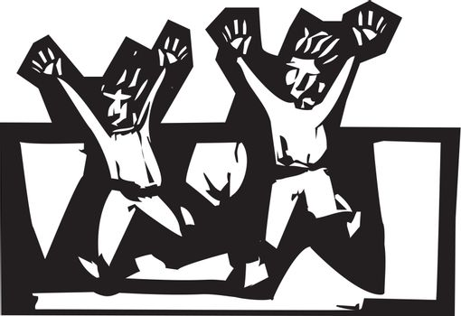 two people in expressionistic woodcut style running scared.