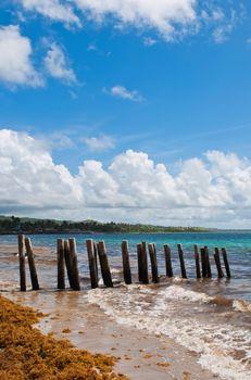 Pier stilts on beach