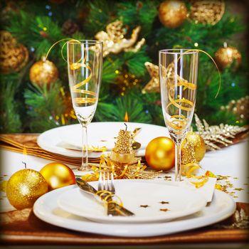 Christmas dinner in restaurant