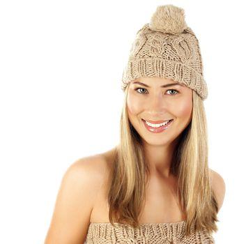 Blonde female wearing warm hat