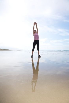 exercising on seashore