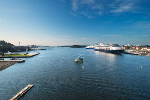 Oslo harbor with cruise ships