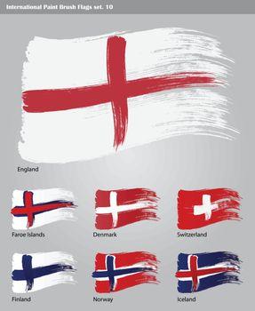 set of vector International Paint Brush Flags