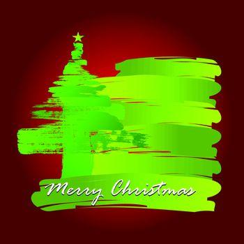 Christmas tree whit Paint Brush