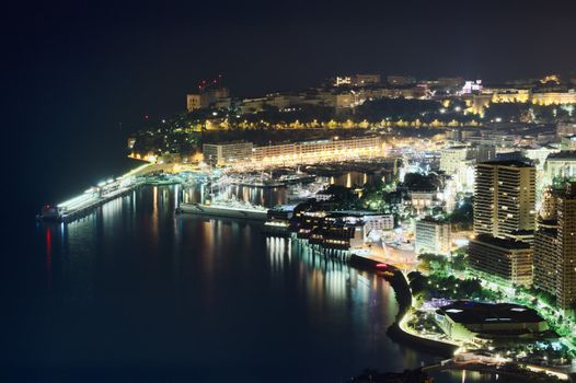 Monaco, Monte Carlo port by night, aerial view