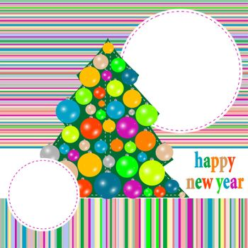 Seamless christmas pattern with new year tree and colorful balls