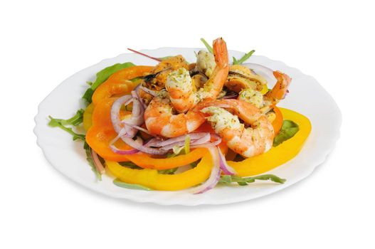 Salad with shrimp, mussels, bell peppers and onions. On white background.