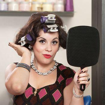 Lady Patting Her Hairdo