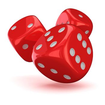Three red dice on the white background