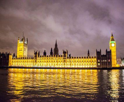 British parliament and Big Ben building at night