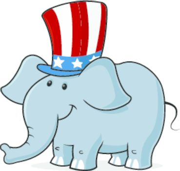 vector image of a elephant wearing uncle s sam hat
