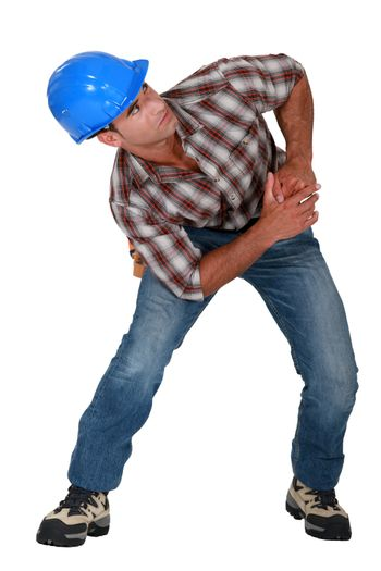 Builder with muscular pain