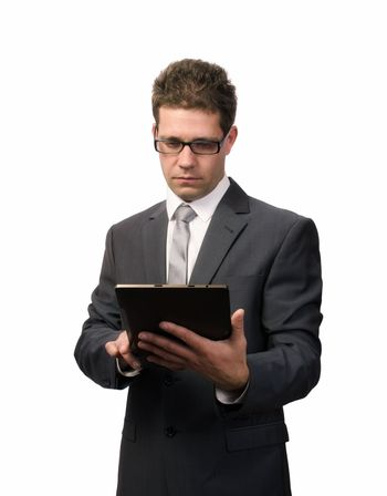 Businessman working on a digital tablet