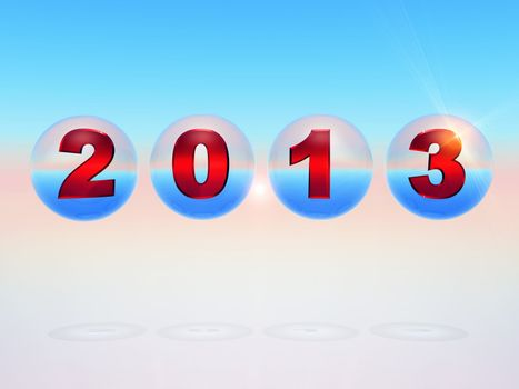 the year 2013 in 3 D letters inside bubbles