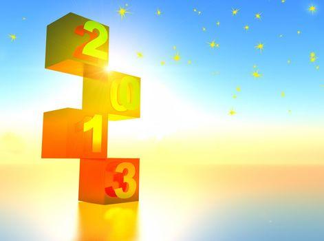 3 D illustration of the number 2013