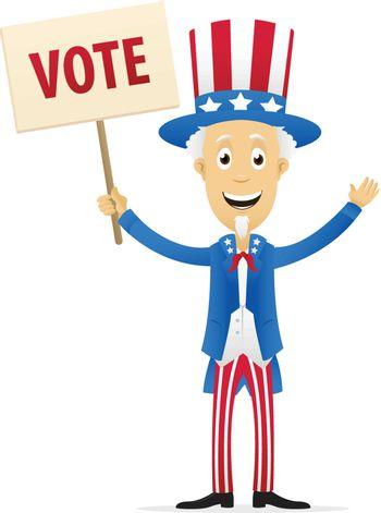 vector image of uncle sam holding vote placard