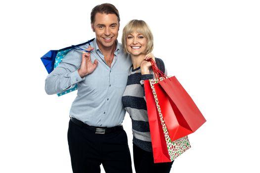 Husband and wife enjoying shopping