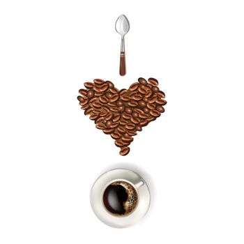 Heart coffee beans with a spoon and cup of coffee