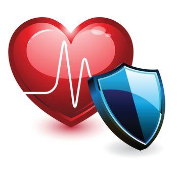 Ecg heart beat and shield