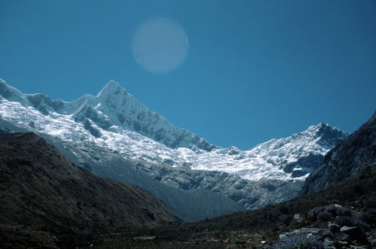 Andes Mountains with a Deep Blue Sky